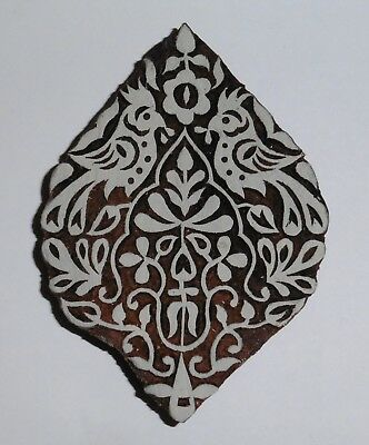 Floral Peacock Shaped 12.4cm Indian Hand Carved Wooden Printing Block Stamp