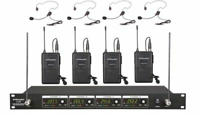 GTD Audio 4 Channel VHF Wireless Microphone System With Lapel Headset Mics 380L