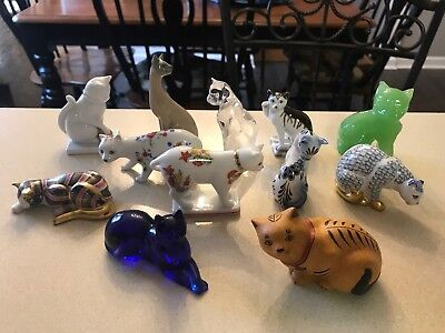 Lot of 12 Franklin Mint Curio Cabinet Cats Collectable Cat Figurines Must See!!