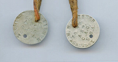 WWI WW1 Dogtag Dog Tag ID Disc SET to Officer 50th Coast Artillery CAC Overseas