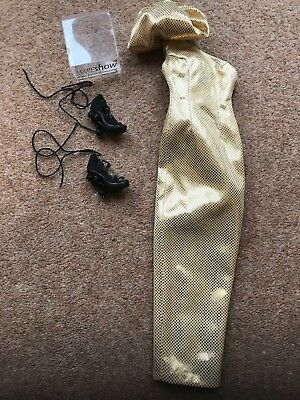 "JAMIESHOW , SYBARITE,FICON 16"" Doll Outfit 24k GOLD DRESS AND MUSICAL NOTE SHOES"