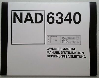 NAD 6340 Owner's Manual for Cassette Recorder in English