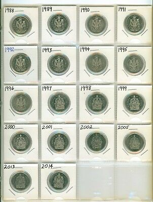 NICE Set of 18 Different Canada Fifty Cent  Half Dollars 1988 to 2014