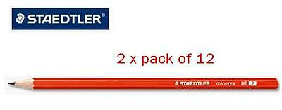 2 x pk of 12 (24)  BULK STAEDTLER Minerva HB2 Lead Pencils Pencil Pack school  1
