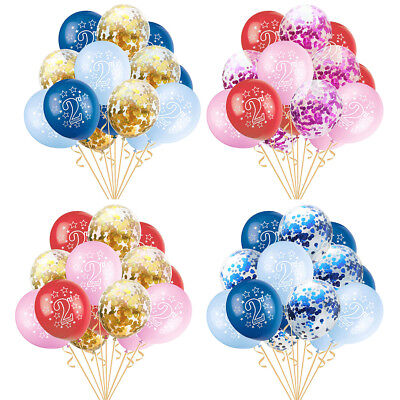 2nd Birthday Baby Age 2 Confetti Latex Balloons Inflatable Party Decor 15pcs