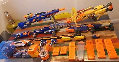 Massive Nerf Gun Bundle  Darts, Scopes, Stocks, Clips  laser  Job Lot bargain