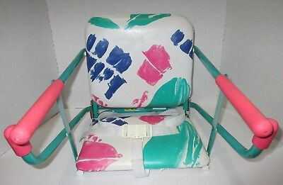 Vintage Graco Tot Loc Lock Clip On Table Top High Chair Booster Seat Pink Green