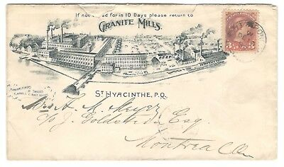 1896 St.Hyacinthe, Que. Granite Mills Illustrated Advertising Cover RPO Cancel