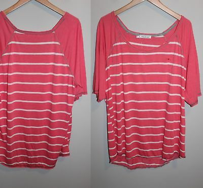 NWT Maurices Striped T-shirt White Coral Baseball Style Women's Size 3 3X HW4876