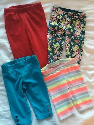Lot Of 4 Leggings Pants Baby Girl Size 6-12 Months