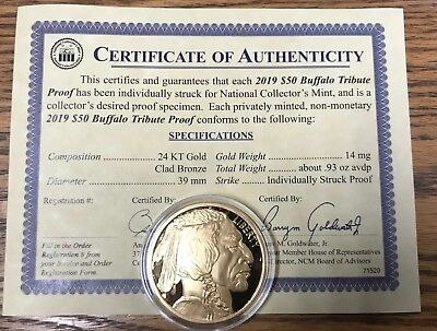 2019 $50 Gold Buffalo Tribute Proof Coin COA Certificate Of Authenticity