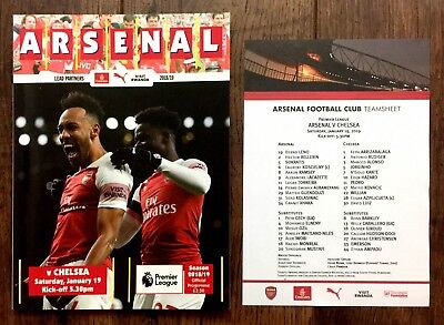 Arsenal v Chelsea Premier League Programme With Team sheet 19th January 2019