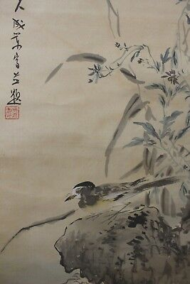 J00R8 ~Beautiful Moon & Cute Bird with Autumn Grass~ Japanese hanging scroll