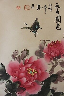 J00R9 ~Gorgeous Peony & Butterfly~ Chinese hanging scroll