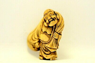 Japanese Antique netsuke Funny Hotei with bag mid Edo period 18С