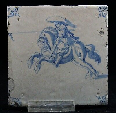 antique 17th C Delft blue Tile Dutch civil gard officer, attack on horse ca.1650