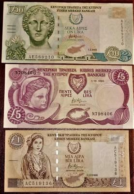 3 Cyprus Banknotes 1 pound,5 pounds & ten pounds UNC see both images