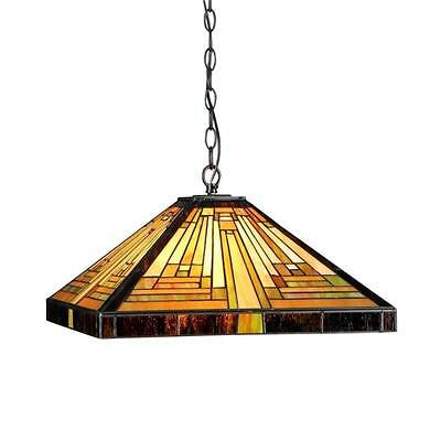 "Stained Glass Chloe Lighting Mission 2 Light Pendant Lamp 16"" Shade Handcrafted"