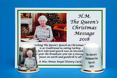 H.M.The Queen Christmas Message 2018 China Thimble + Card B/156