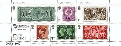 Gb 2019 Stamp Classics Stampex Overprint M/sheet Mnh