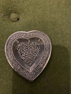 Lovely Heart Shaped Silver Pin Dish