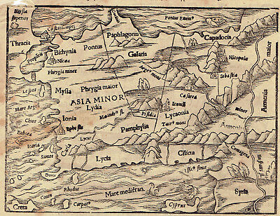 1615 Incunabula Leaf Map Of Medieval Asia Minor (Turkey) Shows Sea Monsters