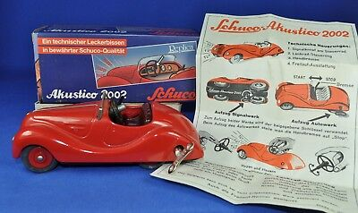 SCHUCO Akustico 2002, Blech rot / Tin red, Replica, Western Germany, OVP / box