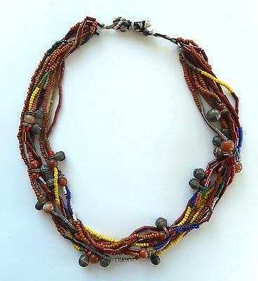 Old Tribal Chin or Kachin Burmese 9-Strand Bead and Bells Necklace