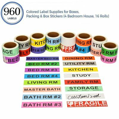 """960 Home Moving Labels Box Packing Labels 1""""x4.5"""" Color Coded Stickers 16 Rolls"""