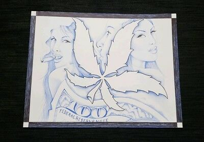 Prison ART Drawing Pen And INK Black and Blue'' Money Girl Weed'' Theme