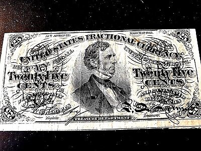 25 Cent Note! Beautiful Collectable 1863!!!!!!