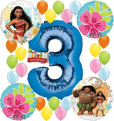 Moana Party Supplies Birthday Decorations Number Balloon Bundle For 3rd Birt
