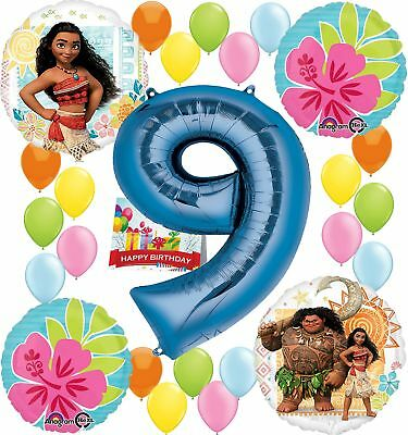 Moana Party Supplies Birthday Decorations Number Balloon Bundle For 9th Birt