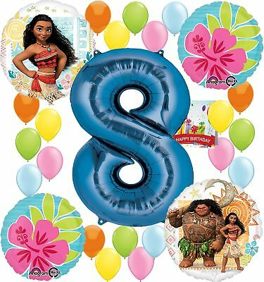 Moana Party Supplies Birthday Decorations Number Balloon Bundle For 8th Birt