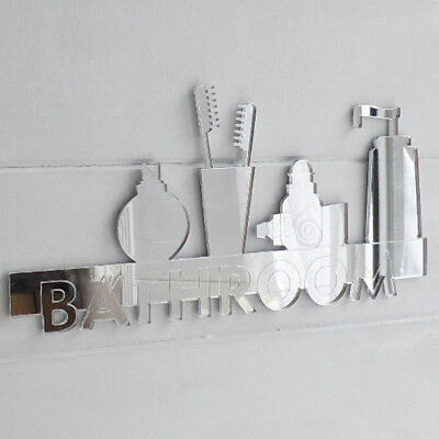 20cm Bathroom Shelf Door / Wall Acrylic Mirror Sign