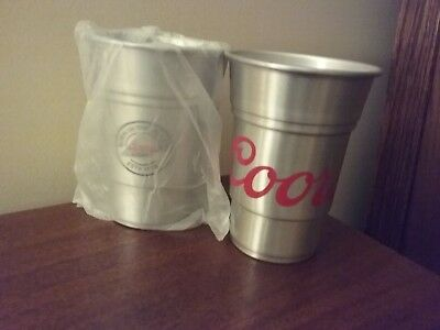 """Coors Light Aluminum 22oz.Beer Cups NEW Set of 2 """"Born in the Rockies"""""""