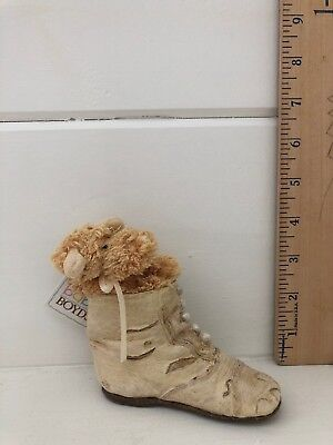 """""""baby Ge...step back """" Boyds Bear-Foot Friends 2002 Bear in Resin Shoe with Tags"""