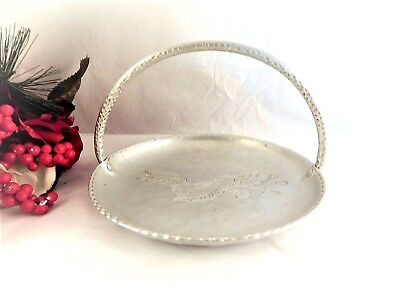 Serving Tray Hammered Aluminum Handled Bread Basket Vintage 1950s Farberware
