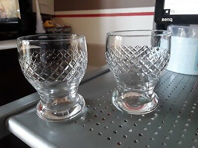 Vintage Crystal Cut Hand Made Whisky Tumblers Made in England