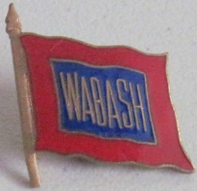 Vintage WABASH Railroad Hat or Lapel Pin Red White Blue Flying Flag on Pole