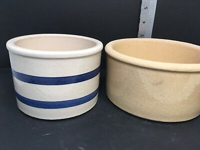 ROSEVILLE POTTERY 2 Jars/Bowls Stoneware Low Jar Robinson Ransbottom GM
