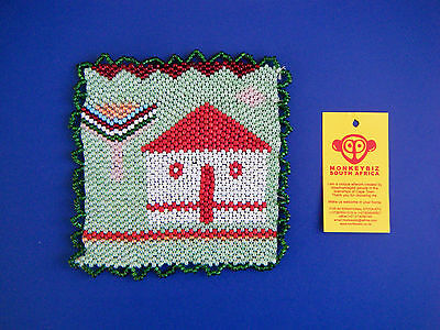 "African Beaded Coaster House & Tree by MONKEYBIZ Capetown S AfrIca 4 1/2 "" W New"