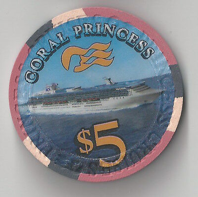$5 Cruise Line Princess Coral Cruises Caribbean Casino Chip Boat Ship Water