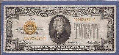 1928 $20 Gold Certificate,Yellow Seal,Woods/Mellon,circulated CH Very Fine,Nice!