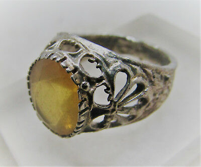 Lovely Post Medieval Silvered Ring With Faceted Yellow Glass Insert