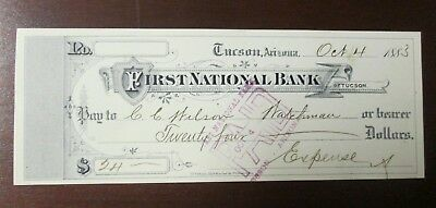 Oct. 4th 1883 First National Bank of Tucson, Az. Check for C. C. Wilson Watchman