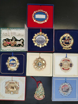 White House Historical Association Lot  of 10 Christmas Ornaments, 2000-2009
