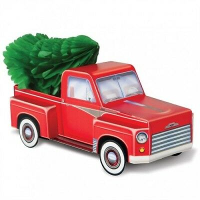 Christmas Red Truck.3 D Christmas Red Truck With Tree Centerpiece Old Red Truck Christmas Decor
