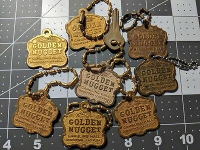 ~~ Vintage Golden Nugget Las Vegas ~ Keychain x8 ~ Ball Chain ~ Mt Vernon, NY ~~