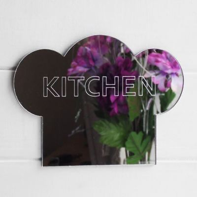 15cm Kitchen Engraved Chefs Hat Acrylic Mirror Sign